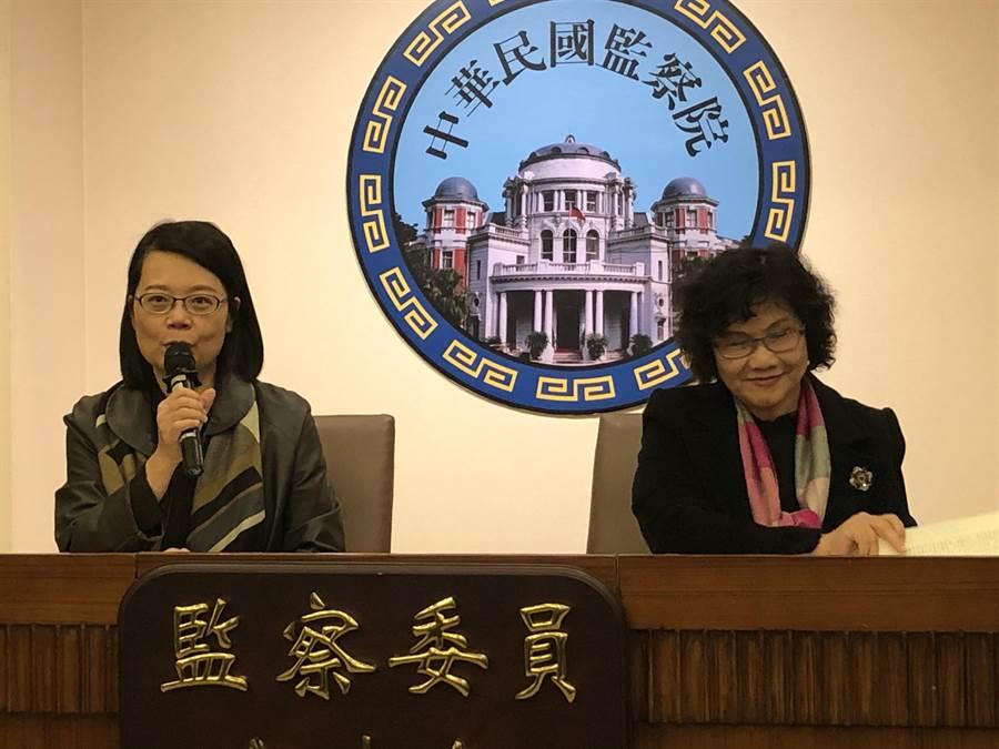 監委王美玉(左)與王幼玲(右)下午舉行記者會。(趙婉淳攝)