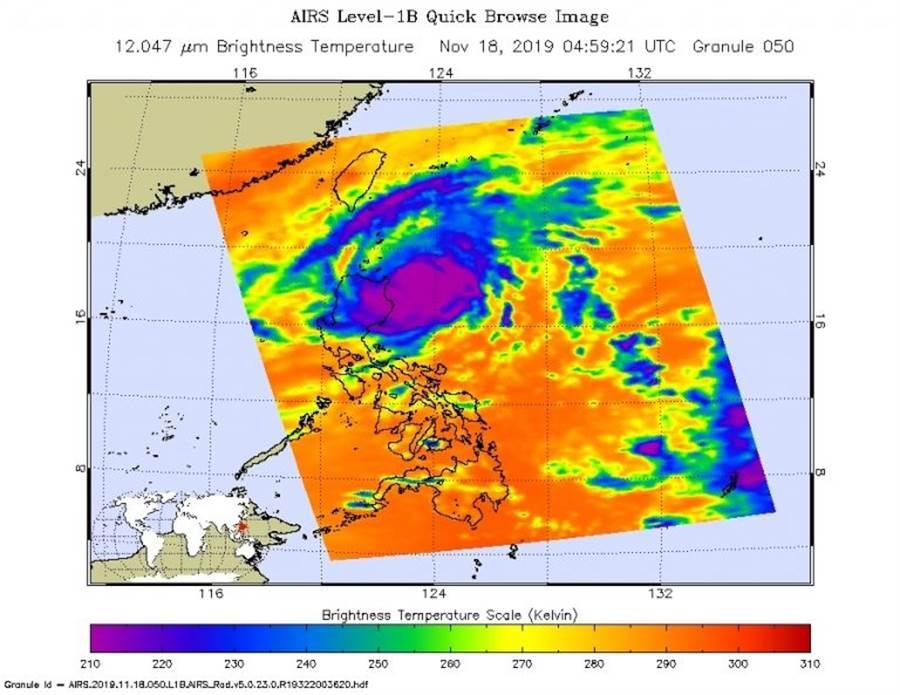 美國太空總署(NASA)的「海鷗」颱風衛星照片。(NASA官網)