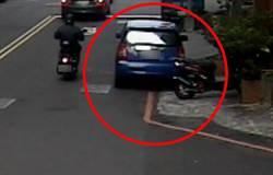 男倒車撞倒機車肇逃 警以車追人依法舉發