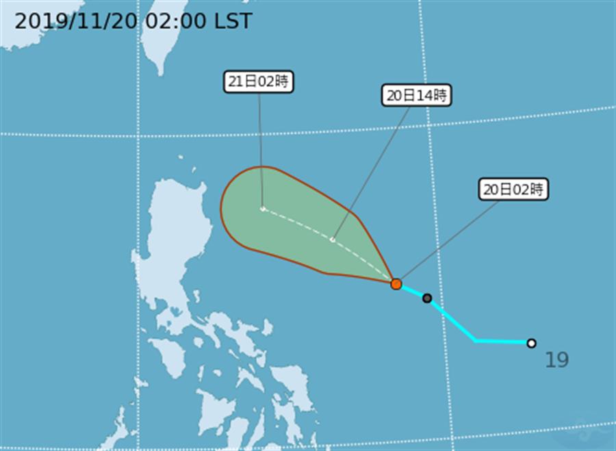 圖為準鳳凰颱風的路徑預測。(氣象局)
