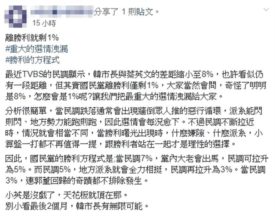 網友在臉書上分享韓國瑜的勝利方程式。