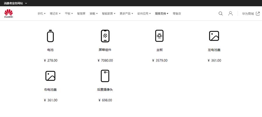 華為官網公布 Mate X 維修費用,其中可折疊螢幕的維修費用飆破新台幣三萬,十分驚人。(摘自華為官網)