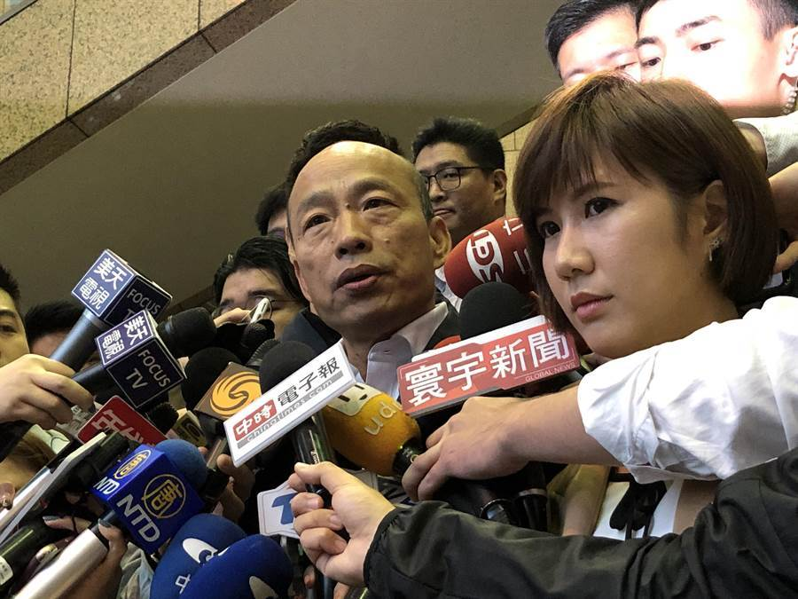 國民黨總統參選人韓國瑜今天下午錄製麻辣天后宮節目。(趙婉淳攝)