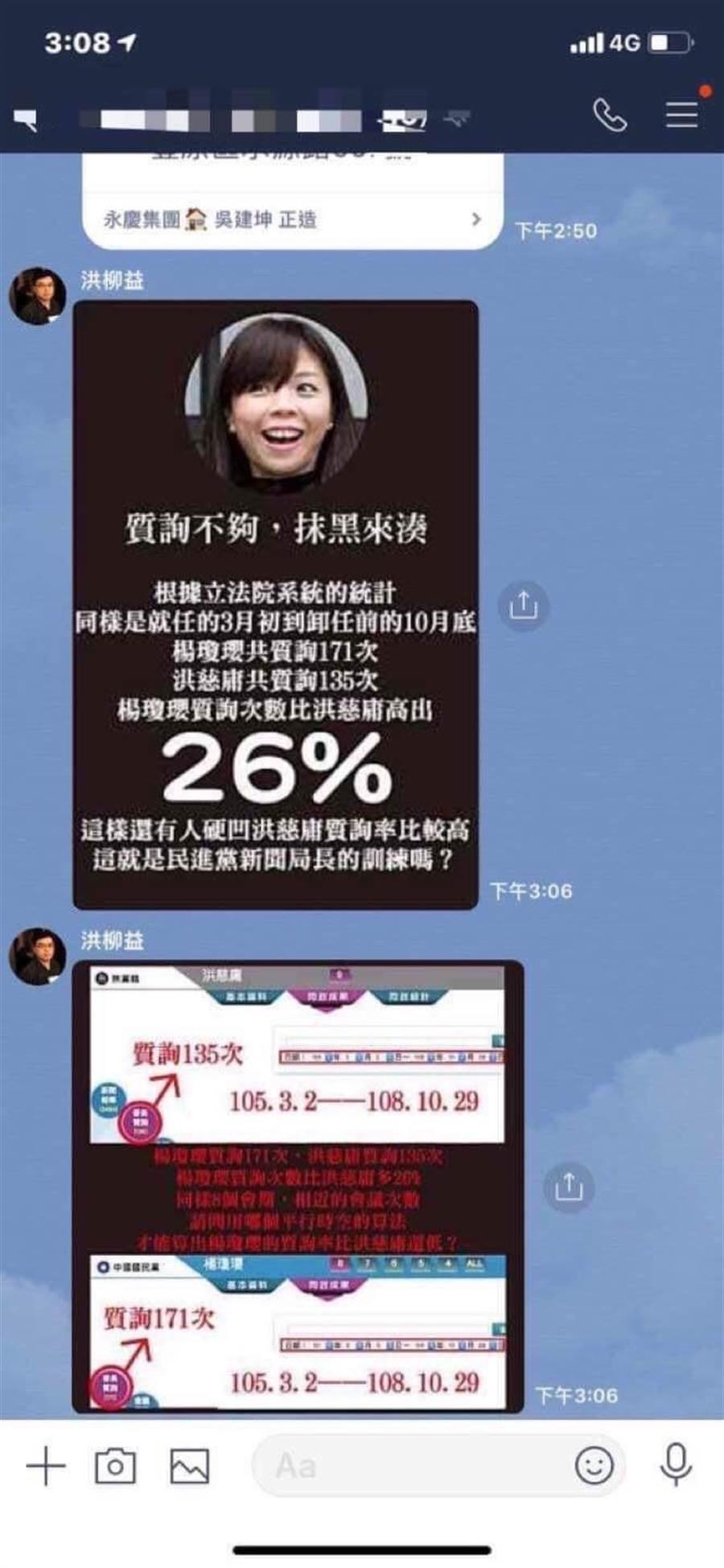 楊陣營在地方臉書貼圖回擊,讓對手暴跳。(洪慈庸競選總部提供)
