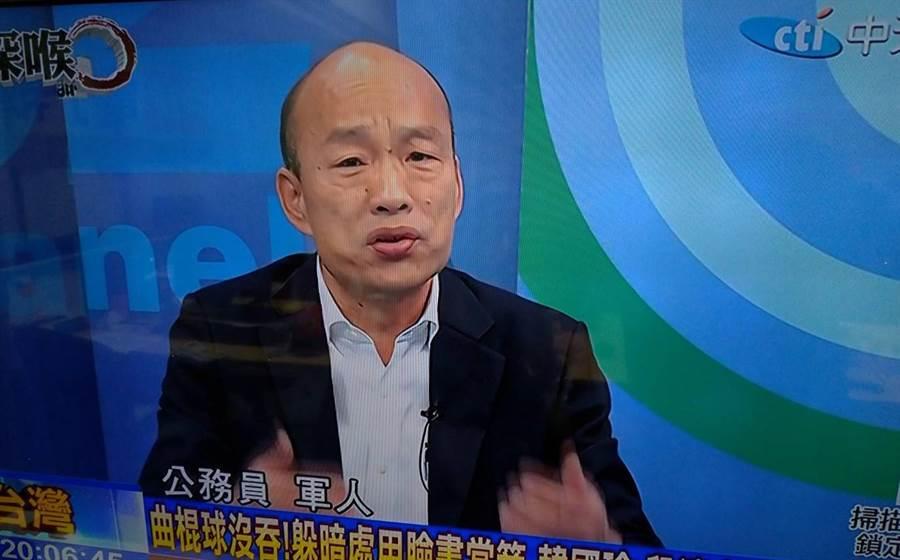 中天電視《新聞深喉嚨》21日晚間播出韓國瑜專訪。(圖/取自中天電視)