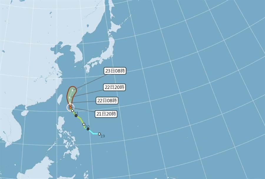 鳳凰路徑東移,外圍環流將給東北部及北部地區帶來持續降雨。(圖/中央氣象局 提供)