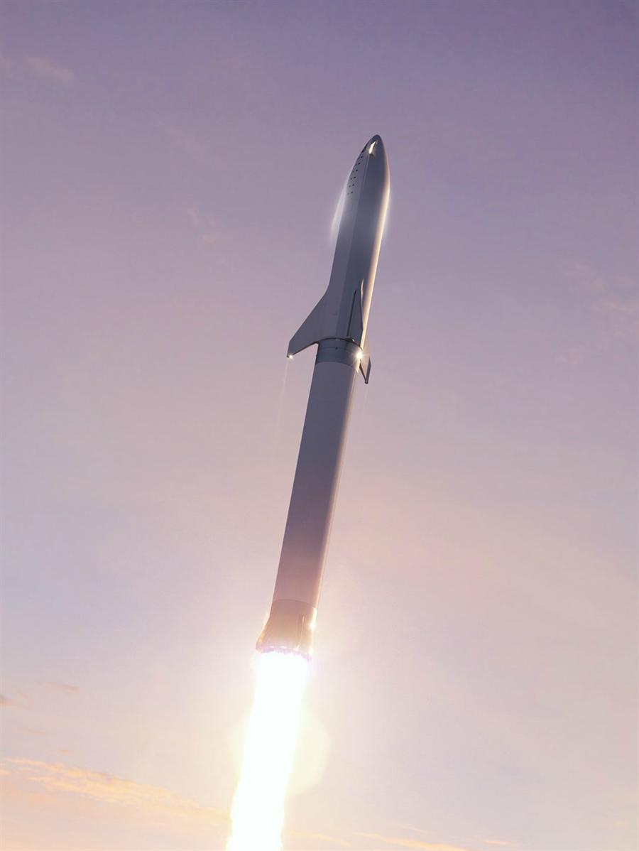 大獵鷹火箭,與上層的星艦太空船,可以100噸的物資送到太空。(圖/SpaceX)