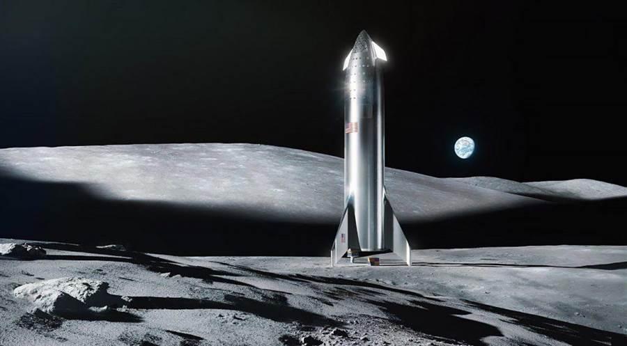 SpaceX的遠景,用星艦太空船前往月球。(圖/SpaceX)