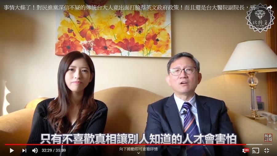 前台大醫院副院長王明鉅接受網路媒體「Bit King比特王出任務」訪問,談從支持民進黨到反民進黨之路。(網站)