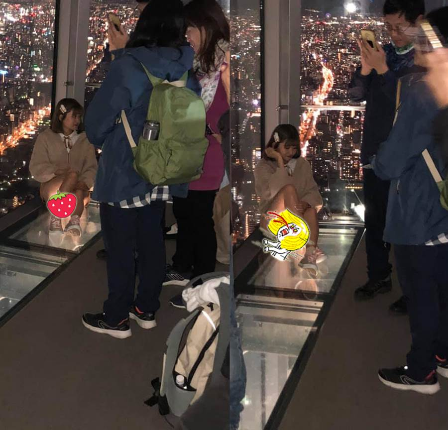 櫻花妹遭玻璃地板出賣 網全臉紅(圖/摘自臉書《加藤軍路邊隨手拍》)