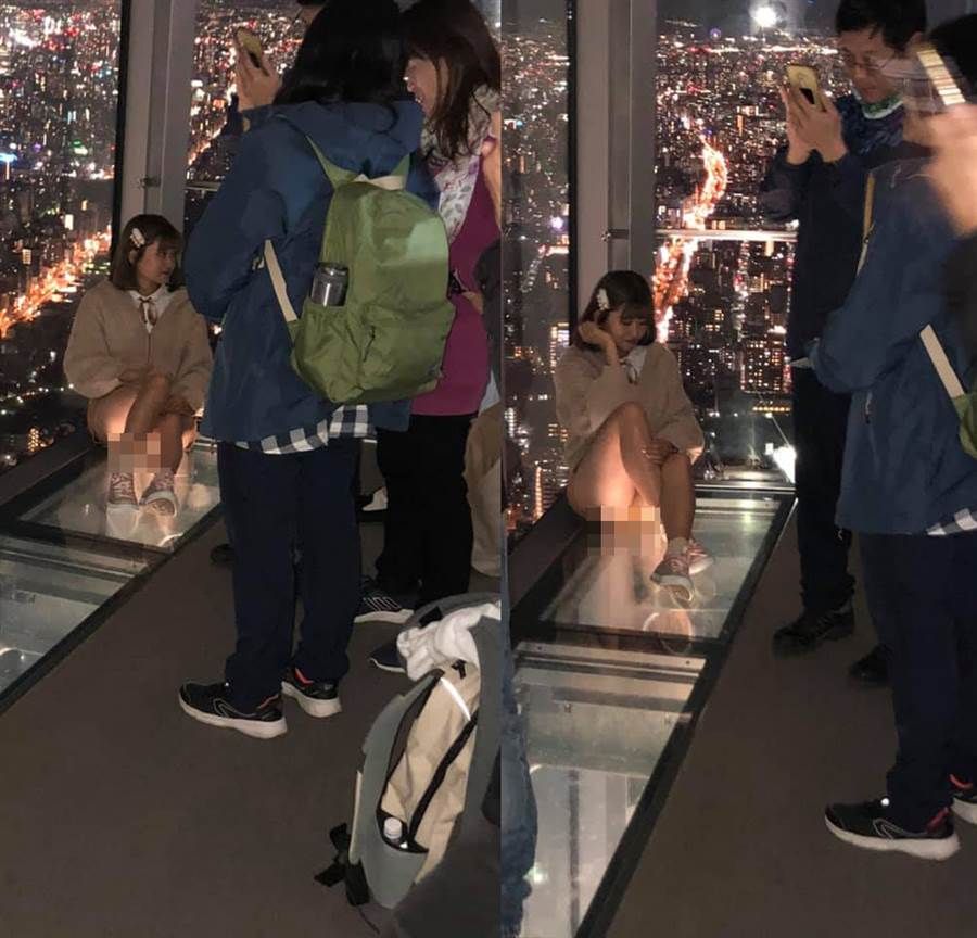 玻璃地板的崁燈,意外反射出櫻花妹的神祕三角洲。(圖/摘自臉書《加藤軍路邊隨手拍》)