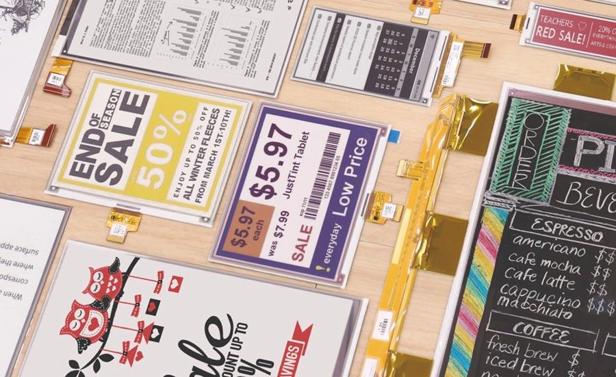 元太拓展電子紙貨架標籤產品組合,從黑白紅、黑白黃三色電子紙邁向全彩色化產品。圖/元太提供