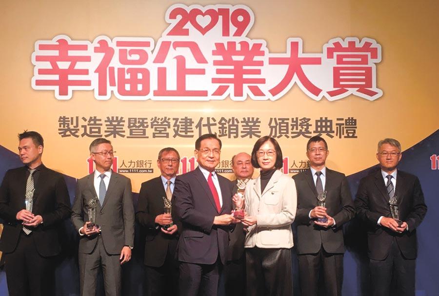 冠德建設榮獲1111人力銀行主辦的「2019幸福企業大賞」。圖/業者提供