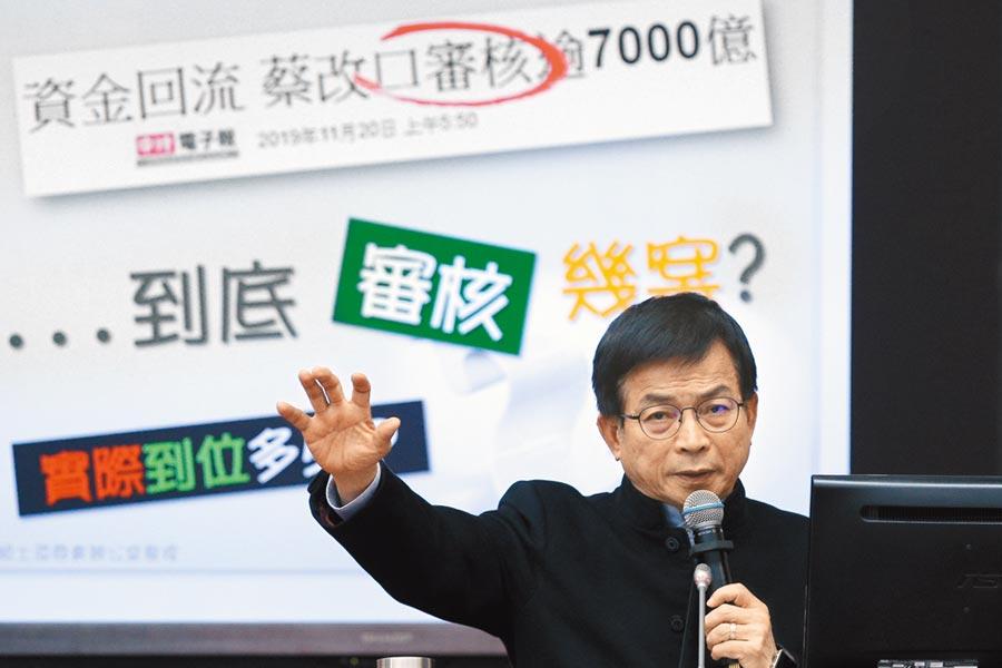 國民黨立委賴士葆21日指政府的減稅政策是讓有錢人吃肉、小老百姓喝湯。(本報資料照片)