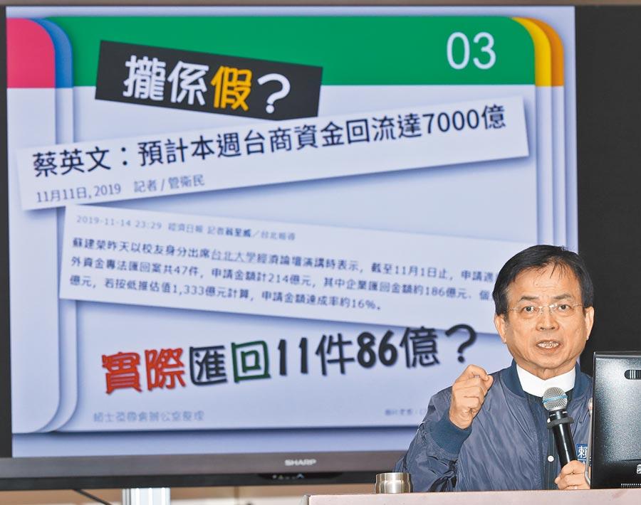 蔡政府聲稱台商回流投資將達7000億元,遭國民黨立委質疑境外匯回0元,是「騙很大」。(黃世麒攝)
