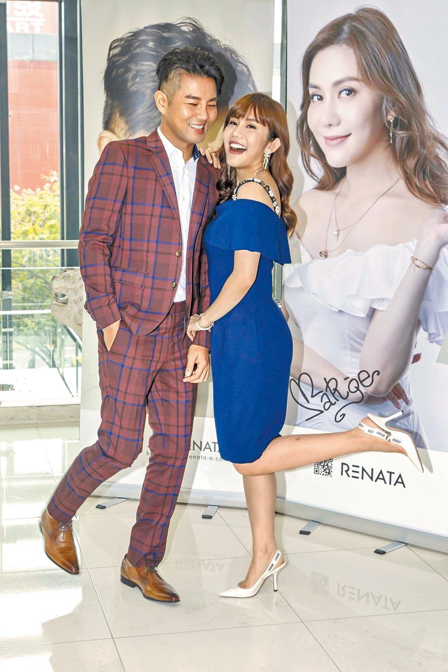 謝承均(左)昨與王宇婕分享副業經營得有聲有色。(三立提供)
