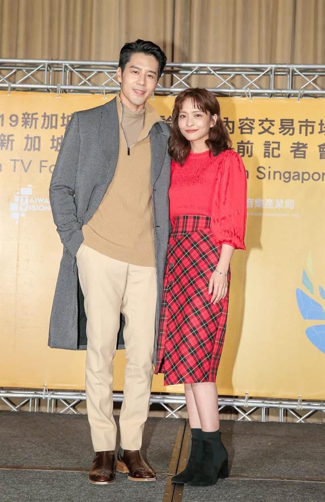 《王牌辯護人》男女主角胡宇威、葉星辰出席新加波影視展行前記者會。(盧禕祺攝)