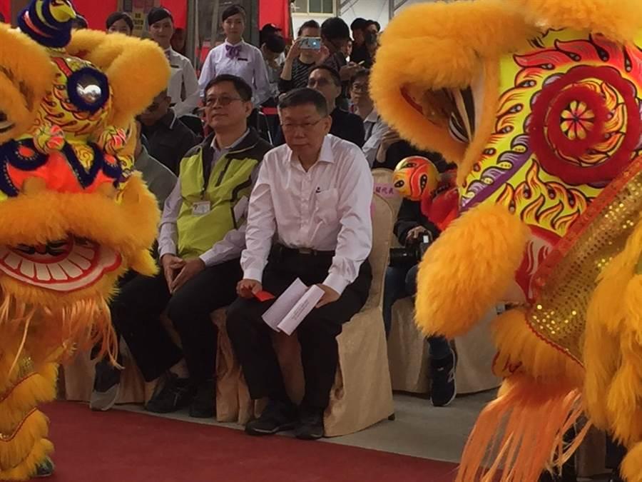 台北市長柯文哲25日出席稻香合署大樓新建工程動土典禮。(張立勳攝)