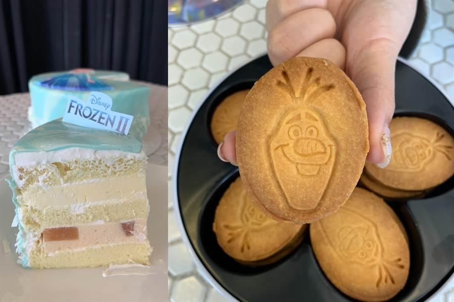 除了三層內餡香草蛋糕,也同步推出「微笑雪寶造型 手工曲奇」餅乾盒。(圖/楊婕安攝)