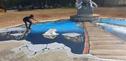 地底冒出大鯨魚 南科3D立體彩繪超好拍