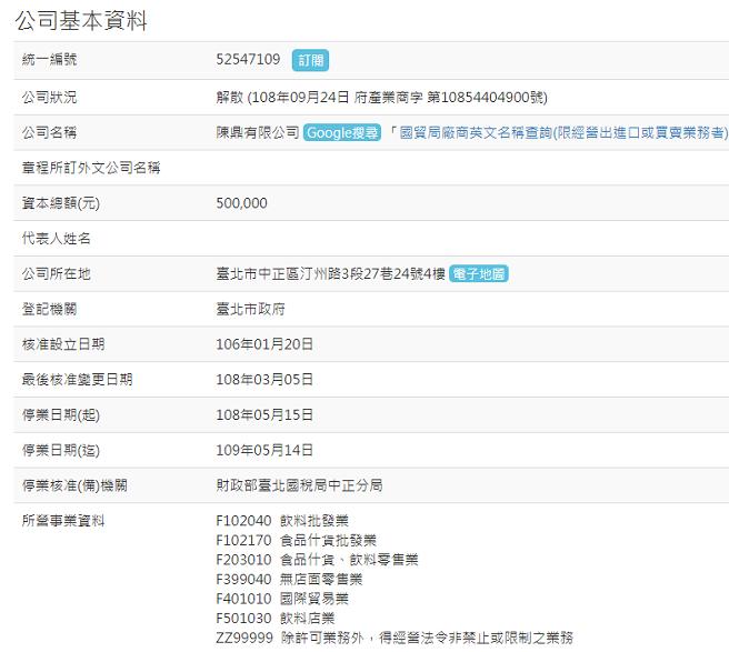 經濟部商業司網站顯示,陳三鼎早在108年5月中就停止營業。(翻攝自經濟部網站)