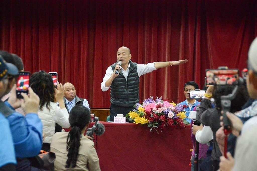 國民黨總統參選人韓國瑜宜蘭傾聽之旅,首站到蘇澳區漁會傾聽漁民心聲。(林宏聰攝)