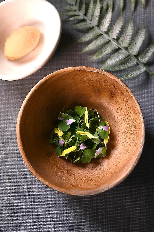 Nobu設計的清口Sorbet,是在木碗中先放了酢漿草、薄荷葉和南瓜子,然後注入液態氮再搗碎,最後與用胡蘿蔔、鳳梨、葡萄與香吉士作的冰沙混和,嘗起來味道跟「波蜜果菜汁」味道像極了。(圖/姚舜)