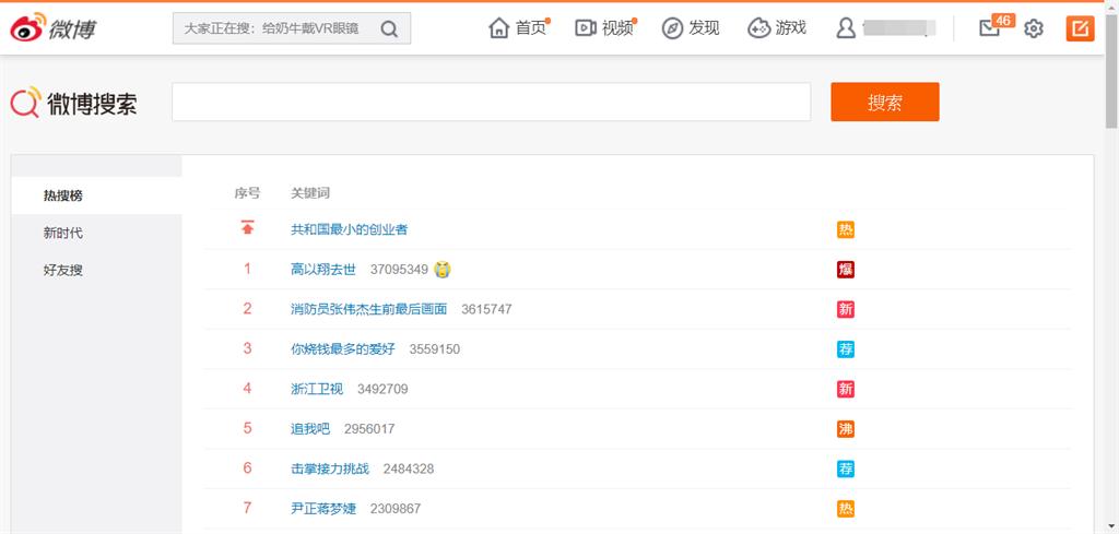 台灣藝人高以翔稍早前意外驟逝,本次事件的相關關鍵字都瞬間登上微博熱搜榜。(摘自新浪微博)