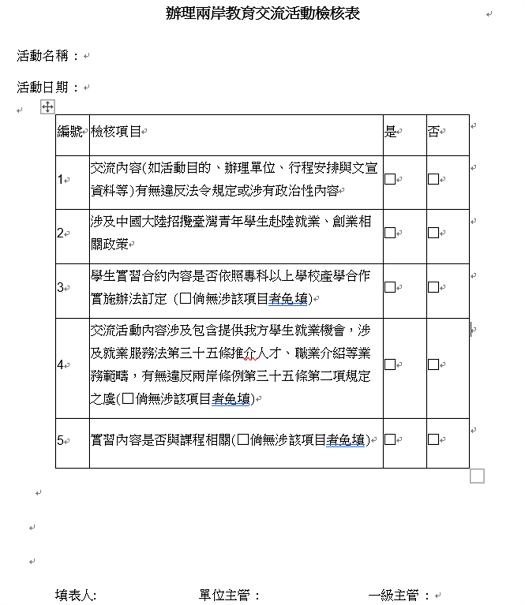 教育部要求各級學校自108學年度起回報赴陸交流情況,學校需先填妥 「辦理兩岸教育交流活動檢核表」,完成內部檢查機制。(李侑珊翻攝)