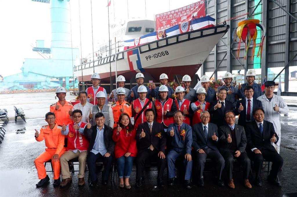 台船基隆廠、海巡署今慶祝第一艘百噸巡防艇下水。(海巡署提供/許家寧基隆傳真)