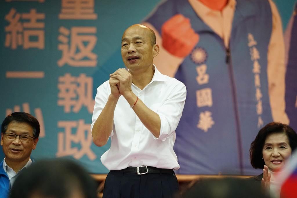 國民黨總統參選人韓國瑜今天到宜蘭市參加座談會,會中強調他重啟核四的態度。(李忠一攝)