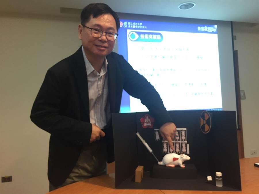 葉晨聖講座教授講解奈米「夜明珠」應用在老鼠試驗。(曹婷婷攝)