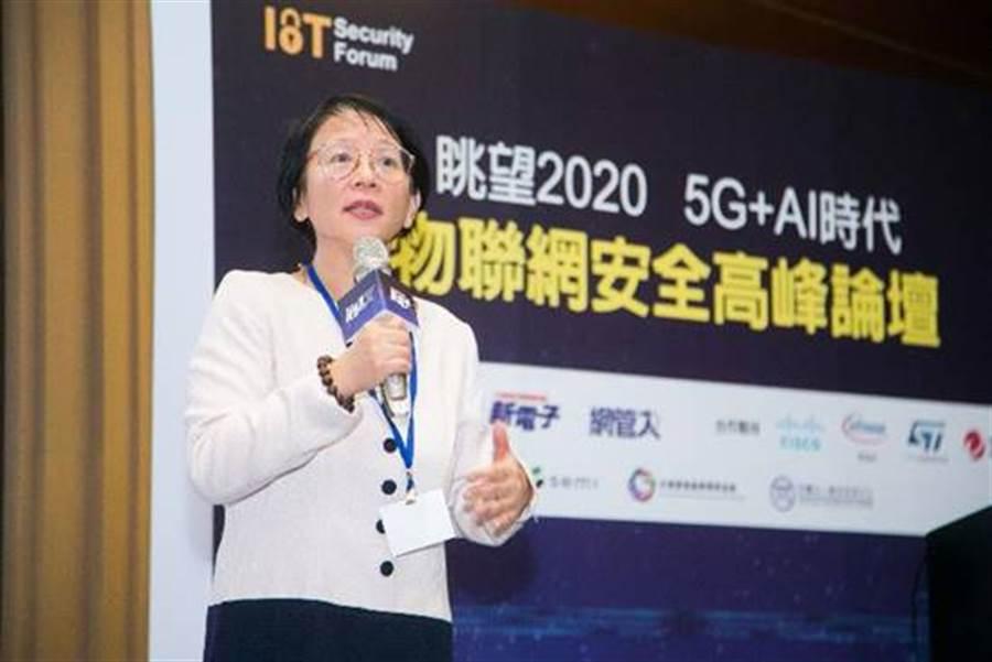 資策會今(27)日舉辦「眺望2020 5G+AI時代 物聯網安全高峰論壇」,圖為資策會系統所馮明惠所長蒞臨致詞。(資策會提供/黃慧雯台北傳真)