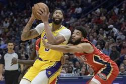 NBA》一眉哥返紐奧良摘41分 湖人9連勝
