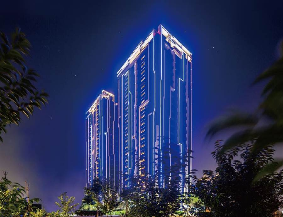 【璟都柏悅】座落於桃園大興西路,為區域稀有21層LED雙塔地標。(外觀圖)