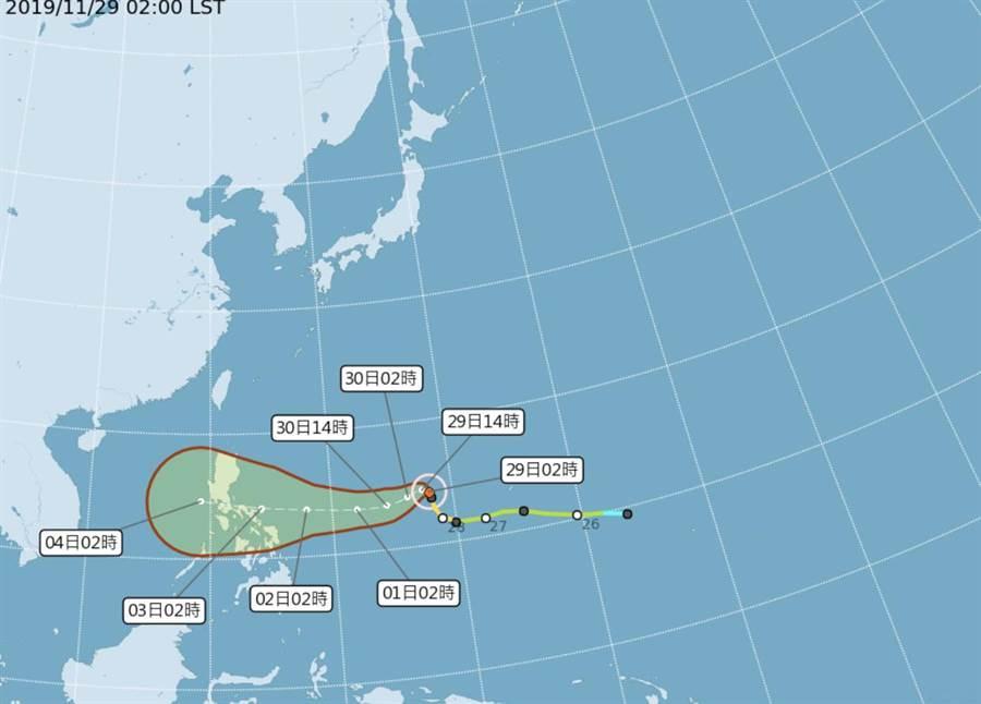 北冕颱風路徑預測圖,預計下周二登陸菲律賓,雖對台灣無直接影響,但外圍環流將帶給台灣大量水氣。(圖/中央氣象局提供)