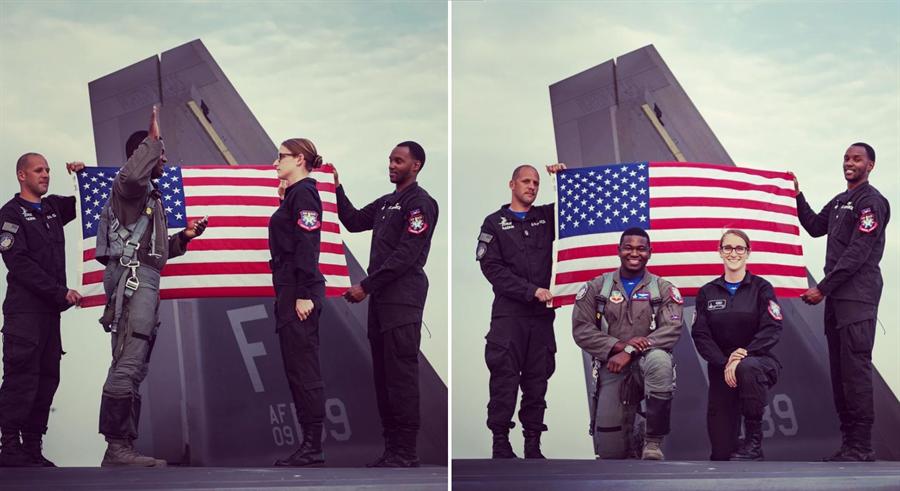 杜拜航展上數名美軍地勤人員穿軍靴直接踩上F-22戰機機身,還在機身上進行宣誓儀式,讓外界極為訝異。(圖/環球網)