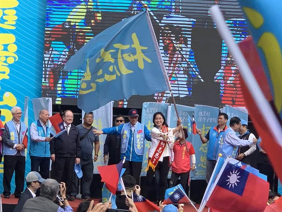 韓國瑜柯志恩聯合競選總部成立大會今在板橋介壽公園舉行。(王揚傑攝)