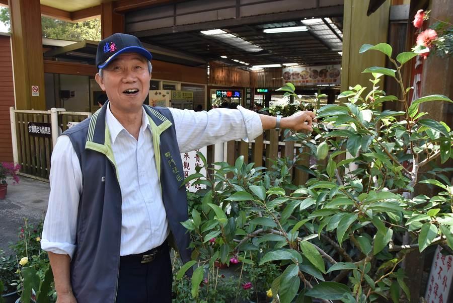 新埔鎮農民黃劉振憑藉對愛玉的熱情,不僅赴外縣市考察、鑽研學術資料,也自己研發選愛玉機,期望推廣這項台灣特色產業。(莊旻靜攝)