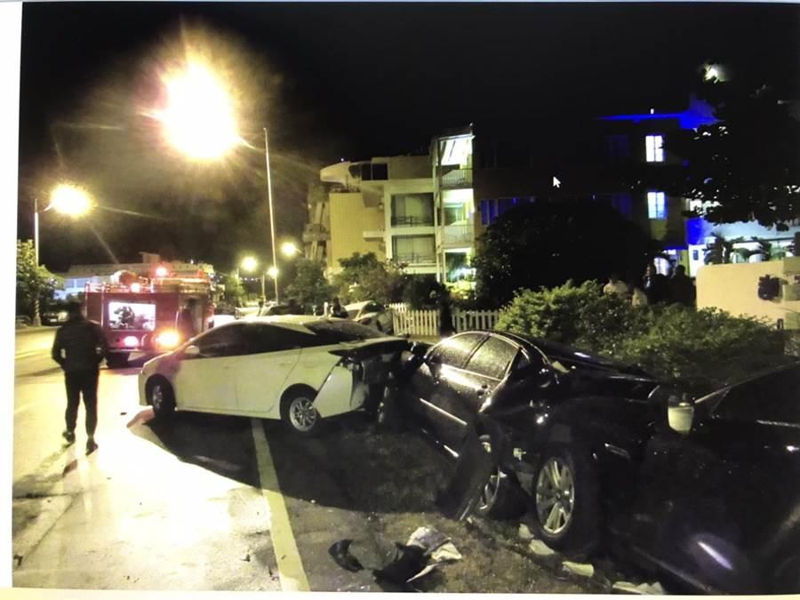 墾丁凌晨車禍,女駕駛送醫後所幸無大礙。(翻攝畫面/林和生屏東傳真)