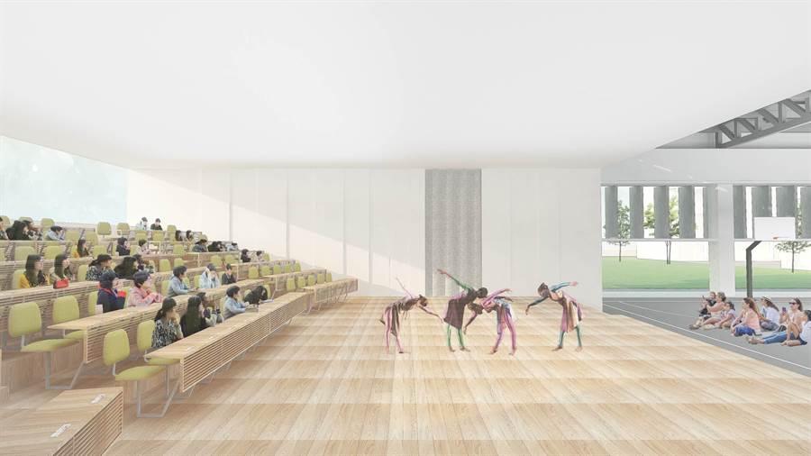 竹蓮國小新建活動中心模擬圖,未來將有舞台、會議室等多功能空間。(新竹市政府提供/莊旻靜新竹傳真)