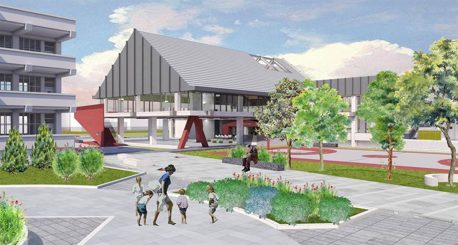 水源國小新建活動中心模擬圖,未來將有大型舞台,讓國樂隊樂器都能充分擺放。(新竹市政府提供/莊旻靜新竹傳真)
