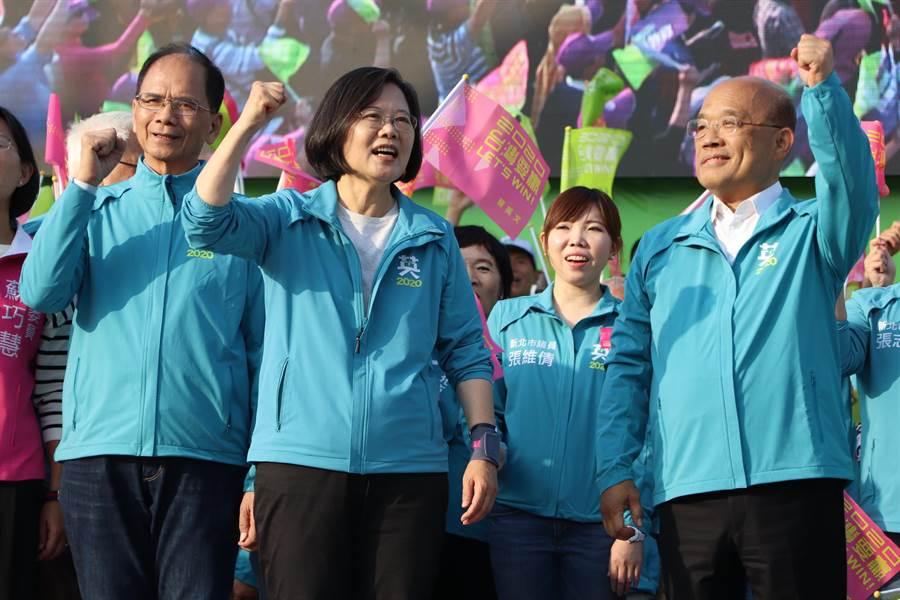蔡英文新北市競選總部成立大會今在板橋第二運動場舉行。(吳亮賢攝)