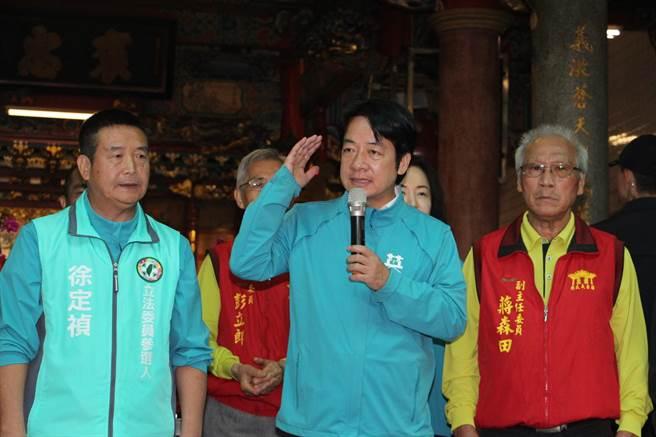 賴清德為民進黨立委參選人徐定禎輔選,呼籲團結力量將他送進立法院。(何冠嫻攝)