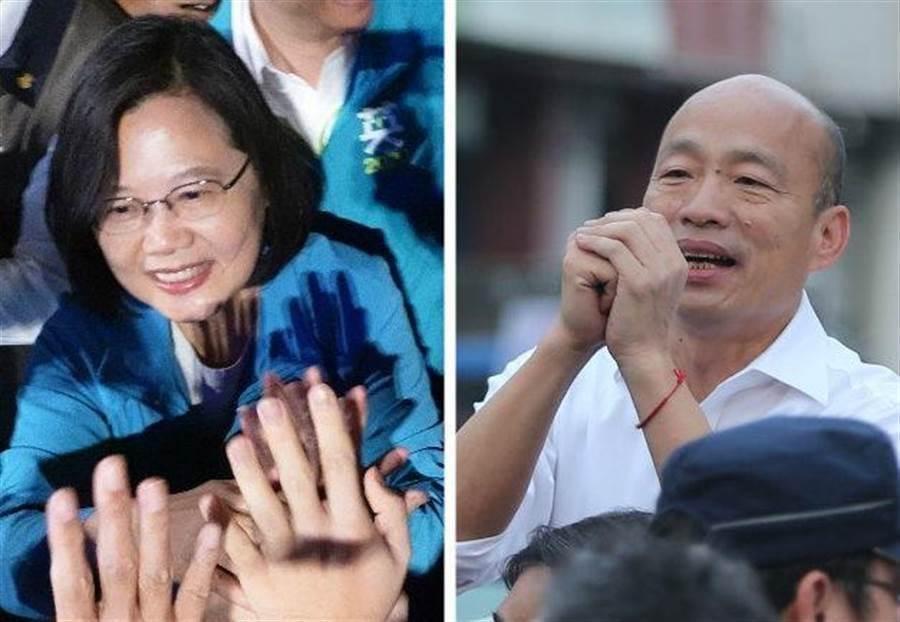 圖為總統蔡英文(左)、國民黨總統參選人韓國瑜(右)。(合成圖/中時資料照)