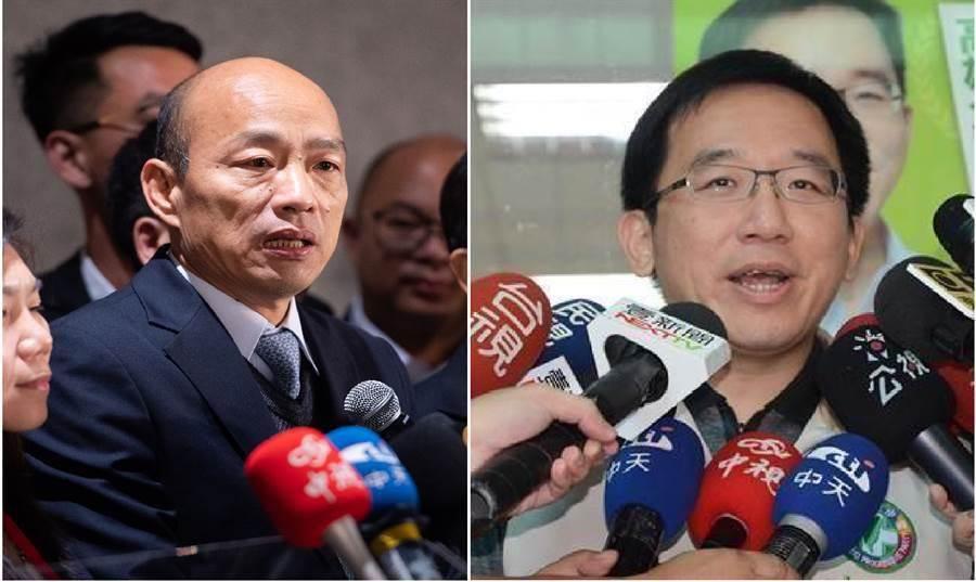 高雄市長韓國瑜(左)、民進黨籍高雄市議員陳致中。(圖/合成圖,本報資料照)