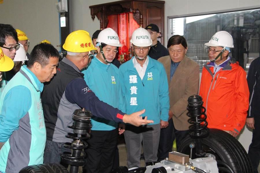賴清德關心產業發展,參訪銅鑼科學區富田電機公司。(何冠嫻攝)