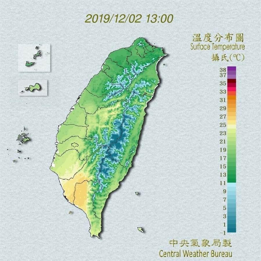 受到大陸冷氣團影響,今天北台灣感受明顯涼意。(翻攝自中央氣象局/林良齊台北傳真)