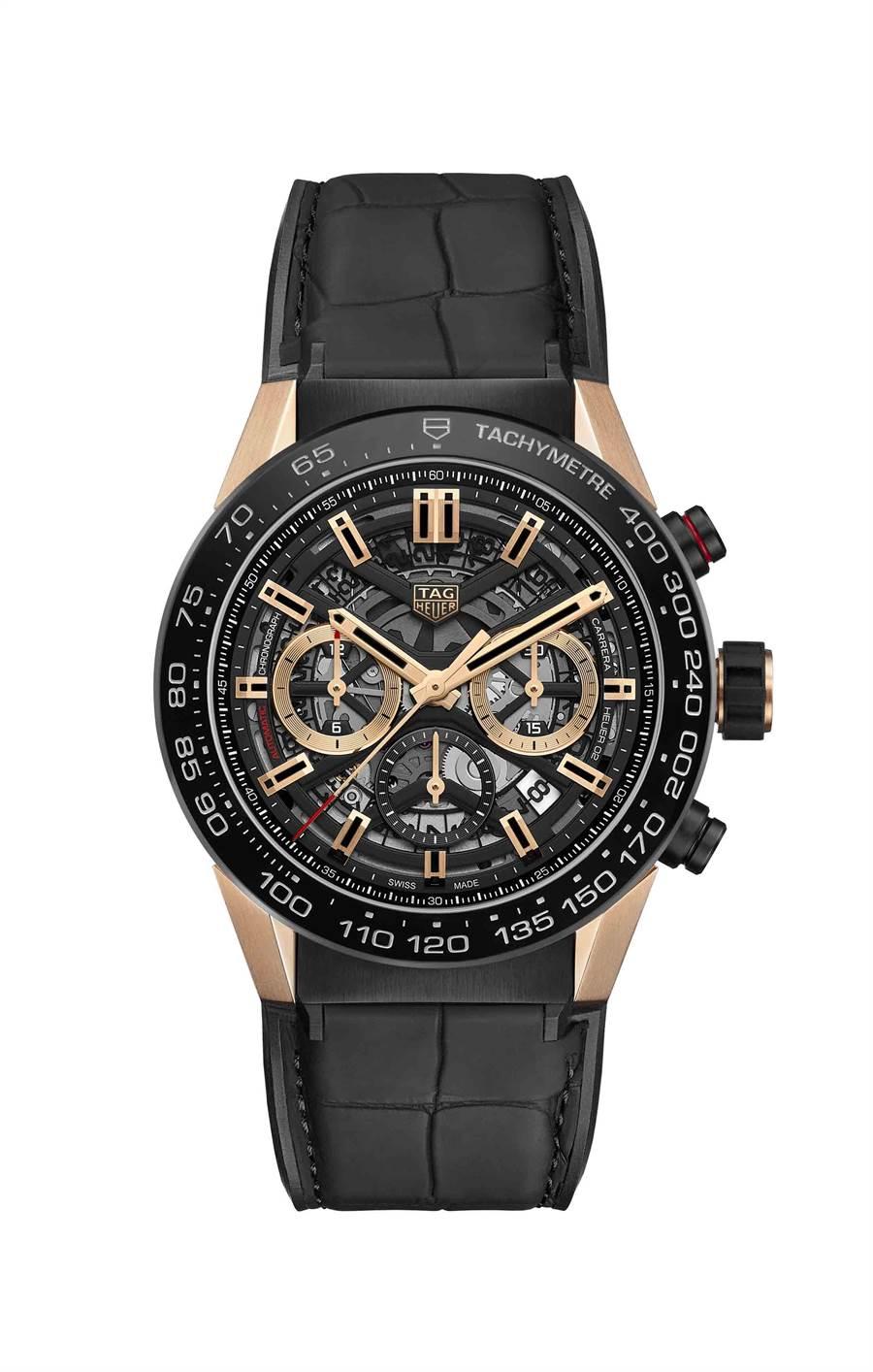 泰格豪雅Carrera Heuer 02黑PVD塗層精鋼計時腕表,玫瑰金表耳,32萬3100元。(TAG Heuer提供)