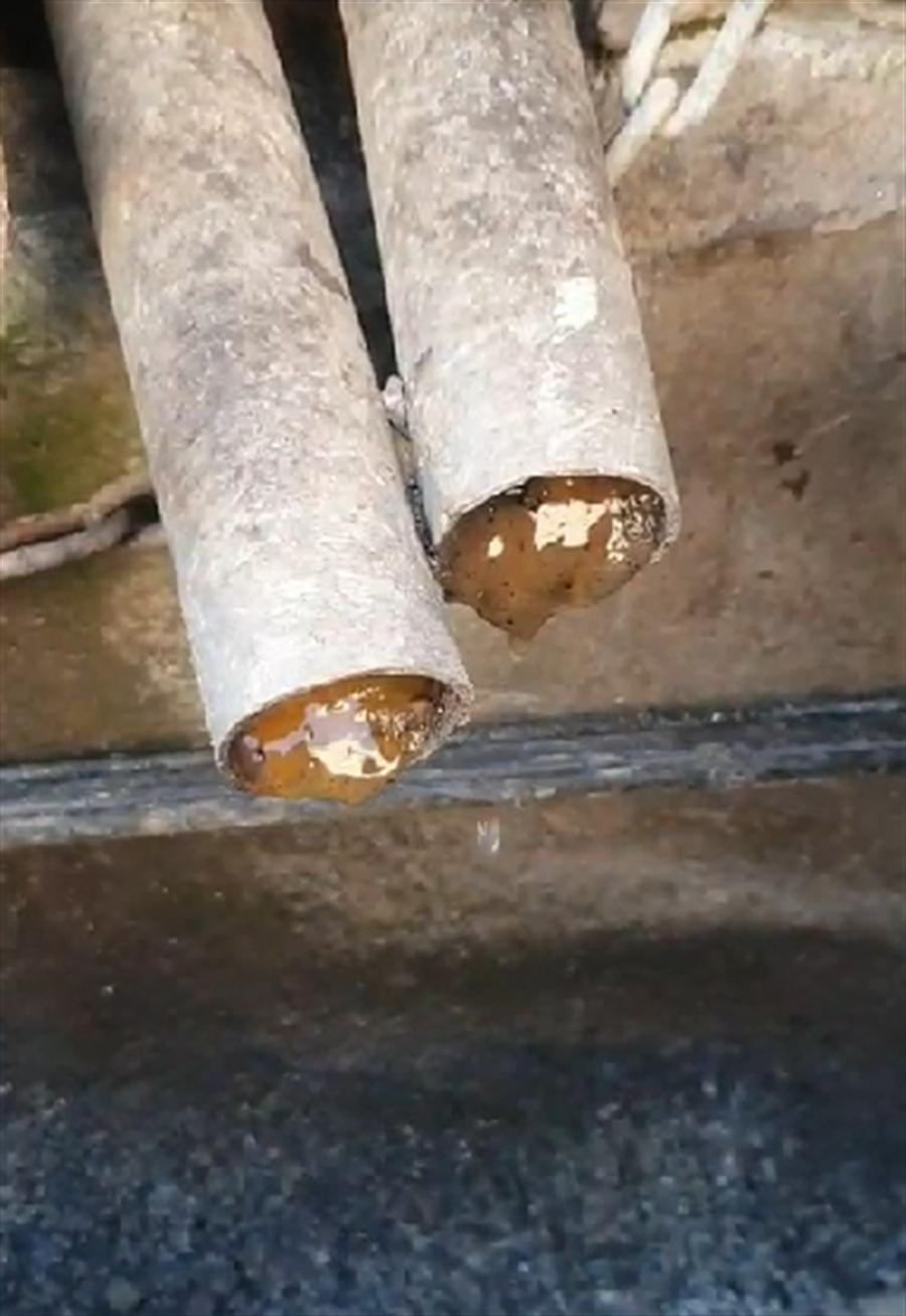 便利超商馬桶汙水直接排入鄰近的水溝內,水管還可見到排泄物。(江和樹提供/林欣儀台中傳真)